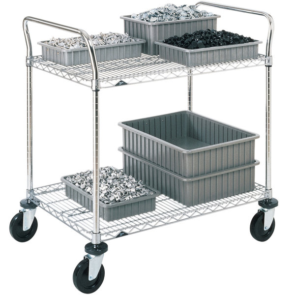 "Metro 2SPN56ABR Super Erecta Brite Two Shelf Heavy Duty Utility Cart with Rubber Casters - 24"" x 60"" x 39"""
