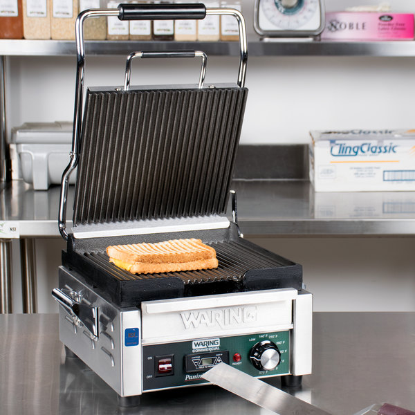 """Waring WPG150TB Panini Perfetto Grooved Top & Bottom Panini Sandwich Grill with Timer - 9 3/4"""" x 9 1/4"""" Cooking Surface - 208V, 2400W Main Image 6"""
