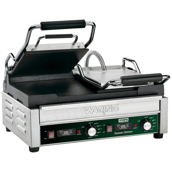 """Waring WFG300T Tostato Ottimo Smooth Top & Bottom Dual Panini Sandwich Grill with Timer - 17"""" x 9 1/4"""" Cooking Surface - 240V, 3120W"""