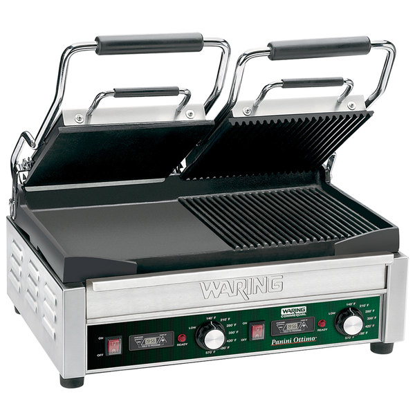 """Waring WDG300T Panini Sandwich Grill with Two Grooved Plates, Two Smooth Plates, and Timer - 17"""" x 9 1/4"""" Cooking Surface - 240V, 3120W"""