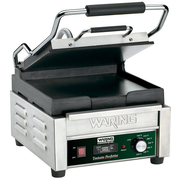 "Waring WFG150T Tostato Perfetto Smooth Top & Bottom Panini Sandwich Grill with Timer - 9 3/4"" x 9 1/4"" Cooking Surface - 120V, 1800W"