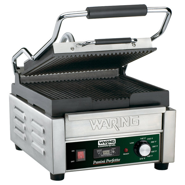 "Waring WPG150T Panini Perfetto Grooved Top & Bottom Panini Sandwich Grill with Timer - 9 3/4"" x 9 1/4"" Cooking Surface - 120V, 1800W"