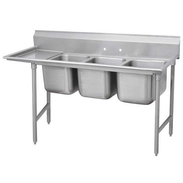 """Advance Tabco 93-23-60-18 Regaline Three Compartment Stainless Steel Sink with One Drainboard - 89"""" Main Image 1"""
