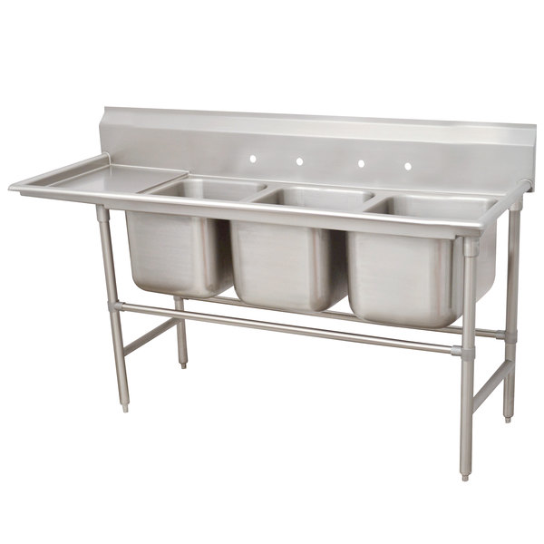 Advance Tabco 94-43-72-24 Spec Line Three Compartment Pot Sink with One Drainboard - 107""