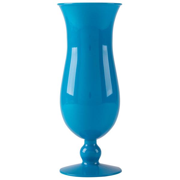 GET HUR-1-BL 15 oz. Blue Plastic Hurricane Glass - 24/Case