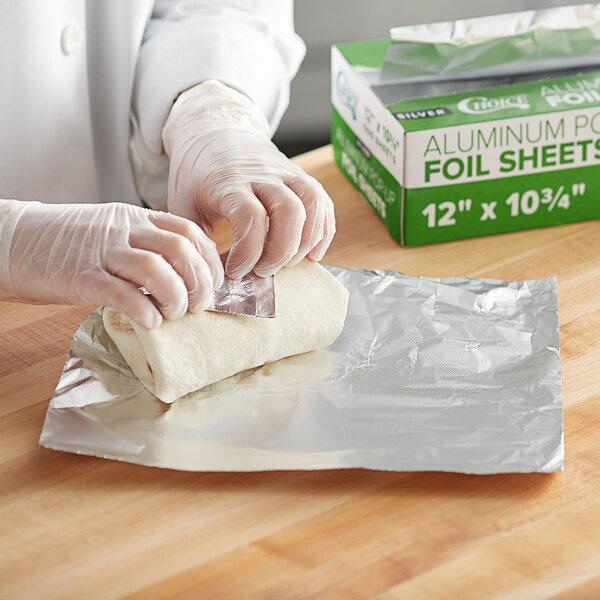 """Choice 12"""" x 10 3/4"""" Food Service Interfolded Pop-Up Foil Sheets - 500/Box Main Image 3"""