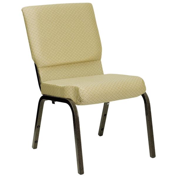 "Flash Furniture XU-CH-60096-BGE-GG Beige 18 1/2"" Wide Church Chair with Gold Vein Frame"