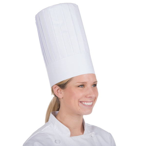 """Royal Paper RCH12 12"""" Pleated Disposable Chef Hat - 24/Case Main Image 1"""