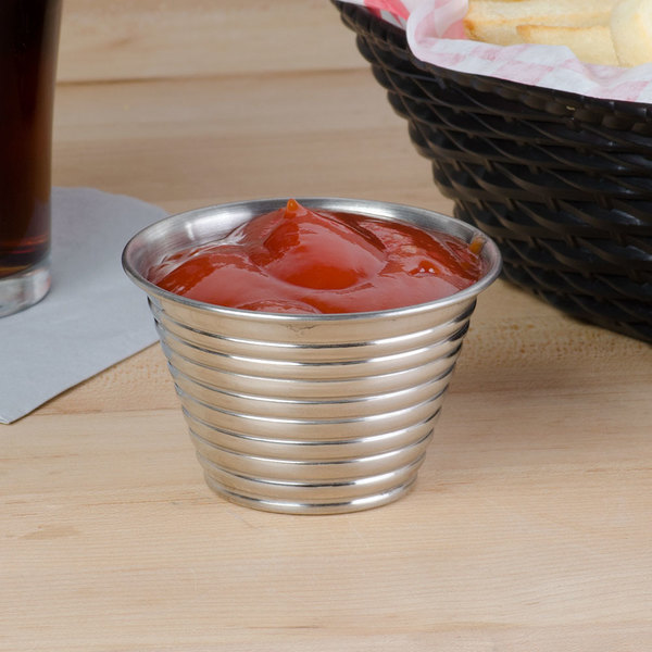American Metalcraft RSC4 4 oz. Stainless Steel Round Ribbed Sauce Cup