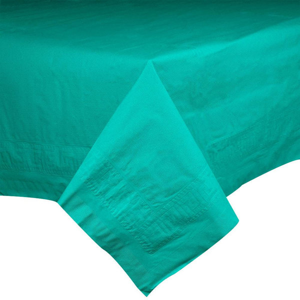 """Hoffmaster 220601 54"""" x 108"""" Cellutex Teal Tissue / Poly Paper Table Cover - 25/Case"""