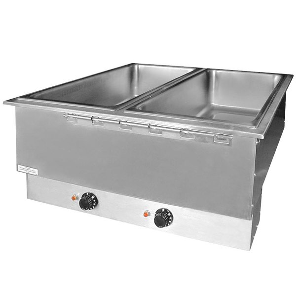 APW Wyott HFWAT-3 Insulated Three Pan Drop In Hot Food Well with Attached Controls and Plug - 240V