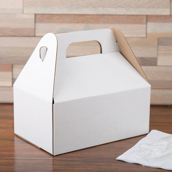 """LBP 9548 8 1/2"""" x 5 1/2"""" x 3 1/2"""" White Barn Take Out Box with Handle - 50/Case"""