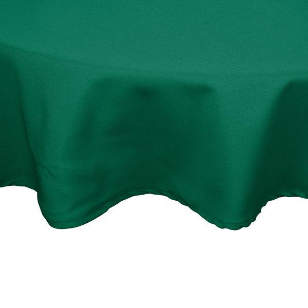 "54"" Green Round Hemmed Polyspun Cloth Table Cover"