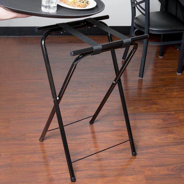 "Carlisle C362503 31 1/2"" Folding Black Metal Tray Stand"