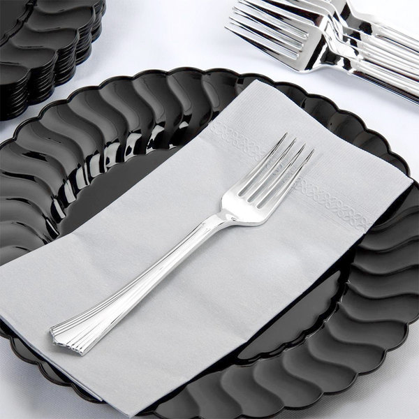 """Silver Visions 7"""" Heavy Weight Silver Plastic Fork - 600/Case"""