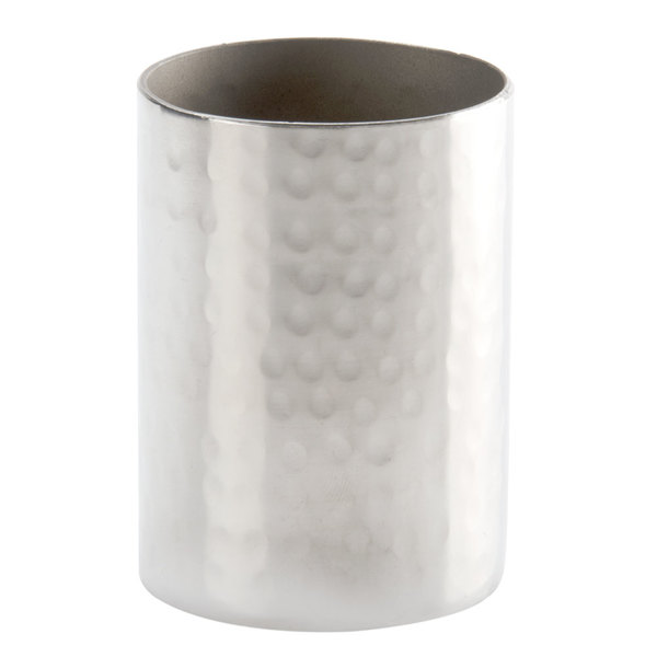 "American Metalcraft HMSPH2 2"" x 2 3/4"" Round Hammered Stainless Steel Sugar Packet / Cube Holder"