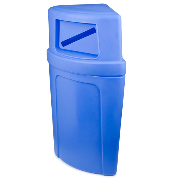 Continental 8325-1 Corner'Round 21 Gallon Blue Corner Recycling Container with Dome Lid and Slot