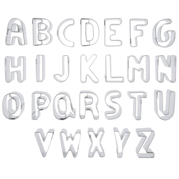 "Ateco 6949 26-Piece 1"" Tin Alphabet Cutter Set (August Thomsen)"