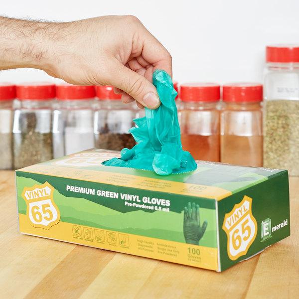 General Purpose Disposable Vinyl Glove 6.5 Mil Small - Green