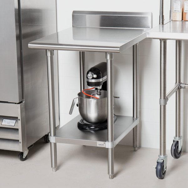 """Advance Tabco KMS-302 30"""" x 24"""" 16 Gauge Stainless Steel Commercial Work Table with 5"""" Backsplash and Undershelf"""