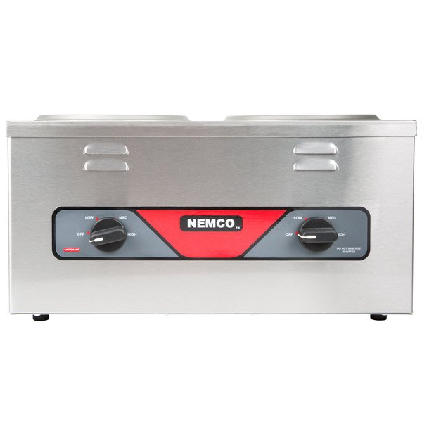 Nemco 6120A-CW Double Well 4 Qt. Countertop Cooker / Warmer - 120V, 1000W