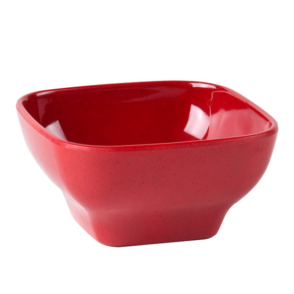 """Thunder Group PS3106RD 5 1/2"""" x 5 1/2"""" Passion Red Square 20 oz. Melamine Bowl with Round Edges - 12/Pack Main Image 1"""