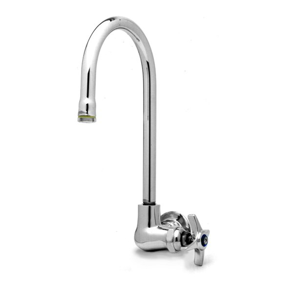 """T&S B-0312 Wall Mounted Single Pantry Faucet with Four Arm Handle - 10 3/8"""" High Swivel Gooseneck Nozzle with 5 11/16"""" Spread"""