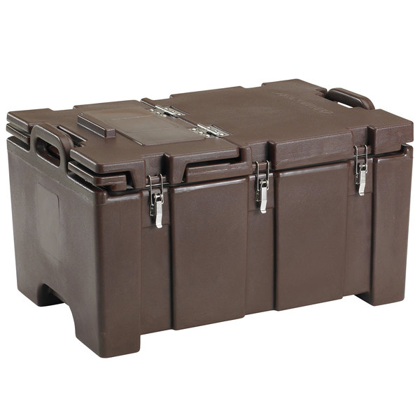 """Cambro 100MPCHL131 Camcarrier® 100 Series Dark Brown Top Loading 8"""" Deep Insulated Food Pan Carrier with Hinged Lid Main Image 1"""