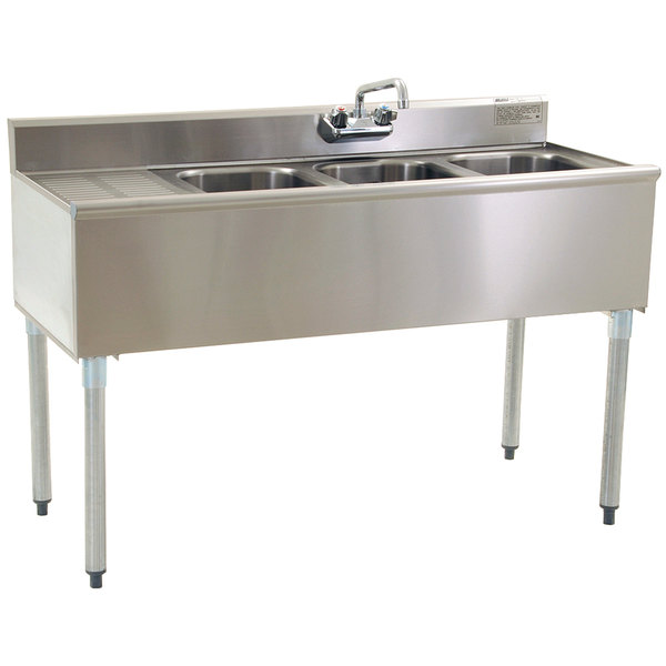 """Eagle Group B4 3 Compartment Under Bar Sink with One Drainboard and Splash Mount Faucet 48"""""""