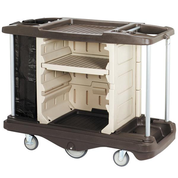 Continental 1585BN Beige / Brown Deluxe Lodging Cart