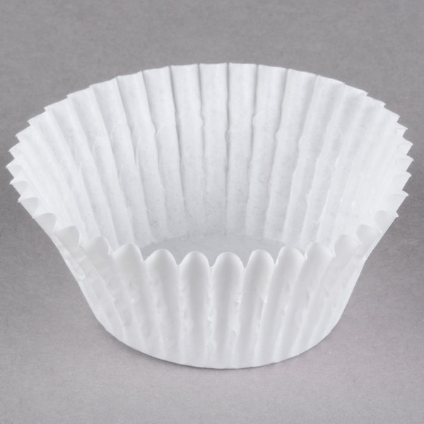 White Fluted Baking Cup 2 inch x 1 1/4 inch - 10000/Case