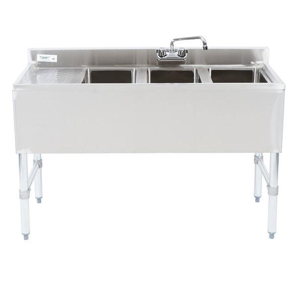 """Regency 3 Bowl Underbar Sink with Drainboard and Faucet - 48"""" x 18 3/4"""""""
