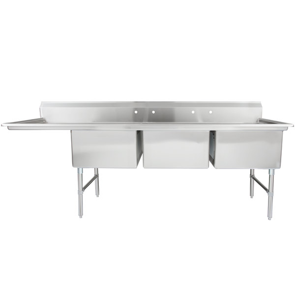 """Regency 102 1/2"""" 16-Gauge Stainless Steel Three Compartment Commercial Sink with 1 Drainboard - 24"""" x 24"""" x 14"""" Bowls"""