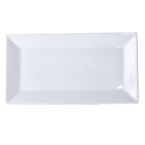 """10"""" x 3 1/2"""" Bright White Rectangular China Platter - 36/Case Main Image 1"""