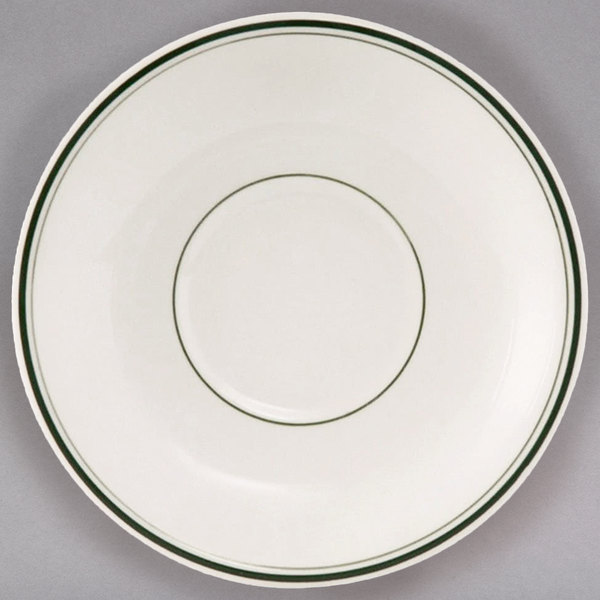 "Tuxton TGB-002 Green Bay 6"" Wide Rim Rolled Edge China Demitasse Saucer - 36/Case"