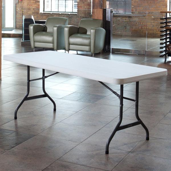 """Lifetime Folding Table, 30"""" x 72"""" Plastic, White Granite - 2901 Main Image 3"""