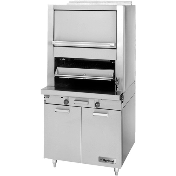 Garland M60XS Master Series Liquid Propane Heavy-Duty Upright Ceramic Broiler with Finishing Oven and Storage Base - 80,000 BTU Main Image 1
