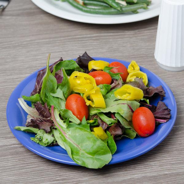 "Carlisle 3300614 Sierrus 7 1/4"" Ocean Blue Narrow Rim Melamine Salad Plate - 48/Case"