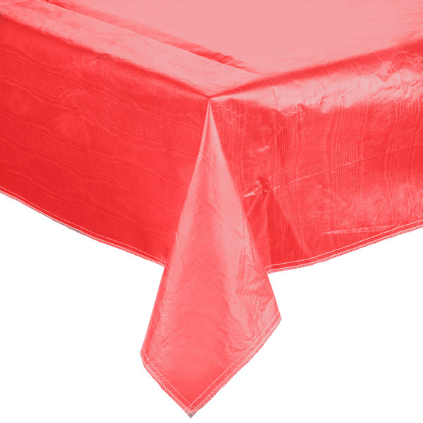 """52"""" x 52"""" Red Vinyl Table Cover with Flannel Back"""