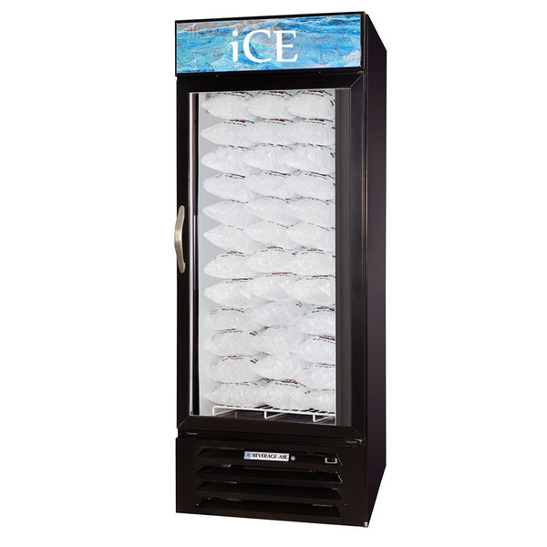 Beverage-Air MMF27-B-1-ICE-LED MarketMax Black Indoor Ice Merchandiser with LED Lighting - 27 cu. ft. Main Image 1
