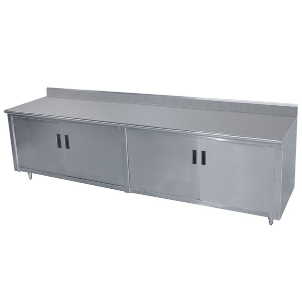 """Advance Tabco HK-SS-306M 30"""" x 72"""" 14 Gauge Enclosed Base Stainless Steel Work Table with Fixed Midshelf and 5"""" Backsplash"""