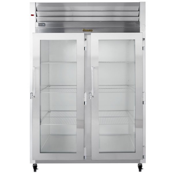 Traulsen G21012 2 Section Glass Door Reach In Refrigerator - Right / Right Hinged Doors Main Image 1