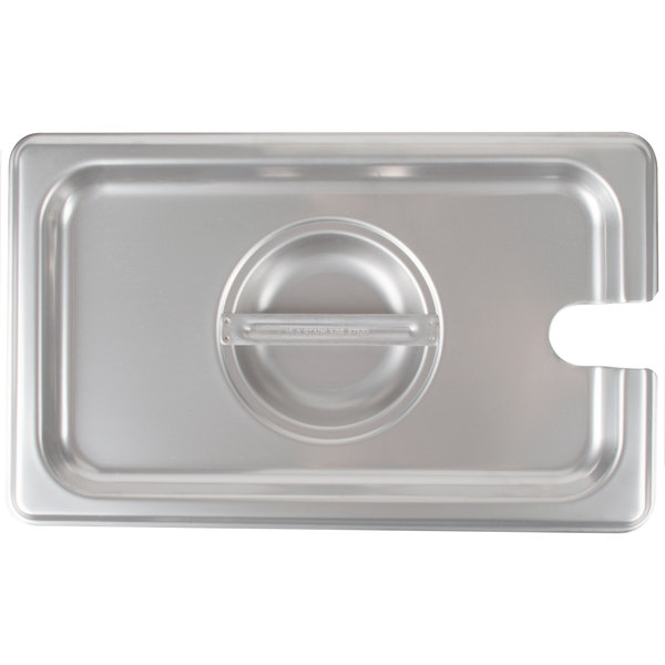 Choice 1/4 Size Stainless Steel Slotted Steam Table / Hotel Pan Cover Main Image 1