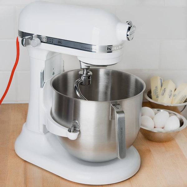White Kitchenaid 8 Qt Commercial Mixer Ksm8990wh Webstaurantstore