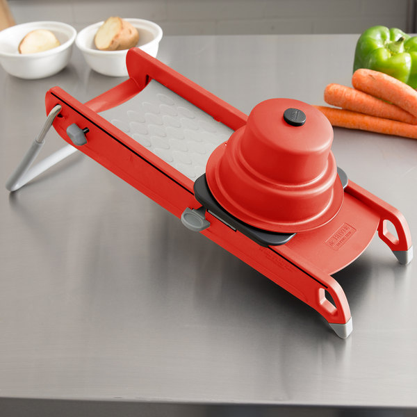 "De Buyer 2015-R ""Swing"" Stainless Steel / Composite Polymer Mandoline with Red Finish and 2 Blades"
