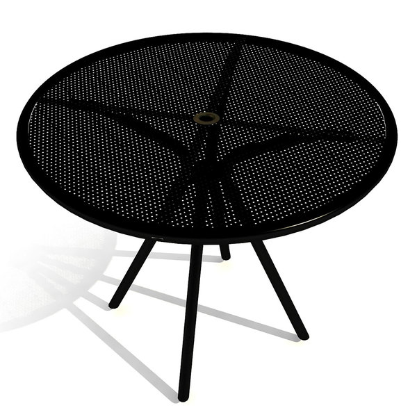 """American Tables and Seating AB36 36"""" Black Round Outdoor Table with Umbrella Hole Main Image 1"""