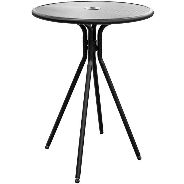 "American Tables and Seating ABB30 30"" Black Round Bar Height Outdoor Table"