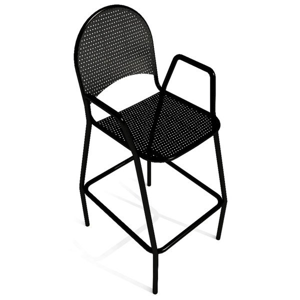 American Tables and Seating 90-BS Black Mesh Outdoor Bar Stool with Arms and Rounded Seat Back