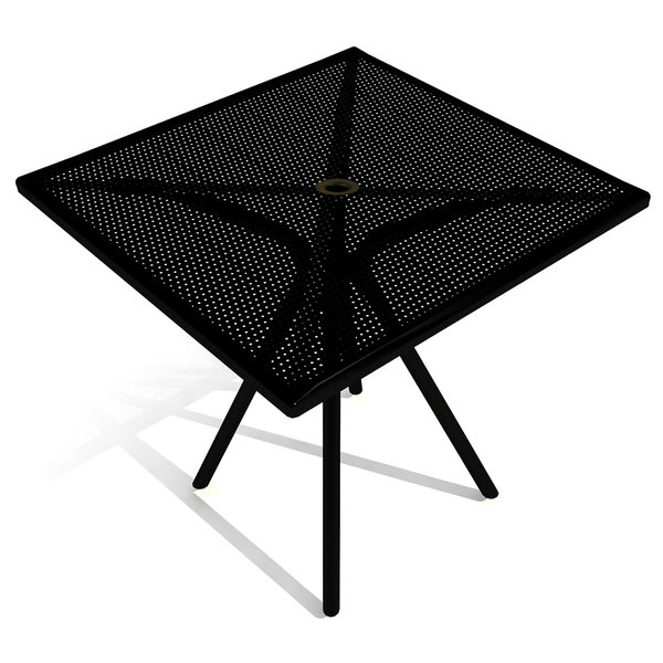"""American Tables and Seating AB3636 36"""" x 36"""" Black Square Outdoor Table with Umbrella Hole Main Image 1"""