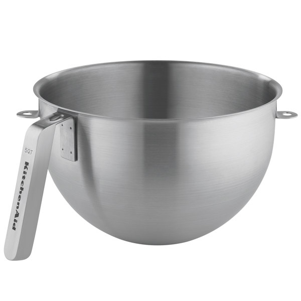 "KitchenAid KSMC5QBOWL 5 Qt. NSF Stainless Steel Mixing Bowl with ""J"" Handle Commercial Stand Mixers"